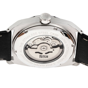 Reign Astro Semi-Skeleton Leather-Band Watch - Silver/Black - REIRN5501