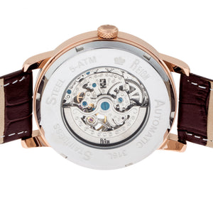Reign Belfour Automatic Skeleton Leather-Band Watch - Rose Gold/Silver - REIRN3604