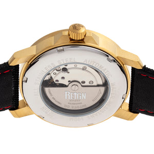 Reign Helios Automatic Leather-Band Watch w/Day/Date - Gold/Black - REIRN5706