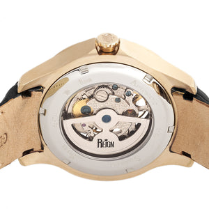 Reign Dantes Automatic Skeleton Dial Leather-Band Watch - Gold/Black - REIRN4705