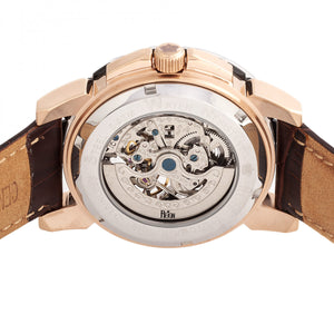 Reign Philippe Automatic Skeleton Leather-Band Watch - Rose Gold/Black - REIRN4606