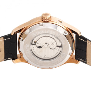 Reign Bhutan Leather-Band Automatic Watch - Rose Gold/Black - REIRN1606