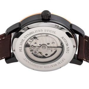 Reign Rudolf Automatic Skeleton Leather-Band Watch - Brown/Black - REIRN5903