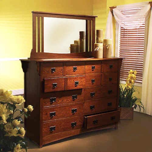 Brook Hollow Solid Wood Construction Framed Dresser Mirror