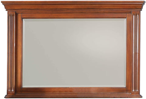 Greenbriar Solid Wood Construction Framed Dresser Beveled Mirror with Stained Wood Finish