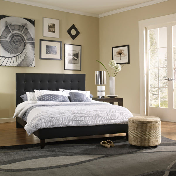 Hanna Faux Leather Upholstered Platform Bed