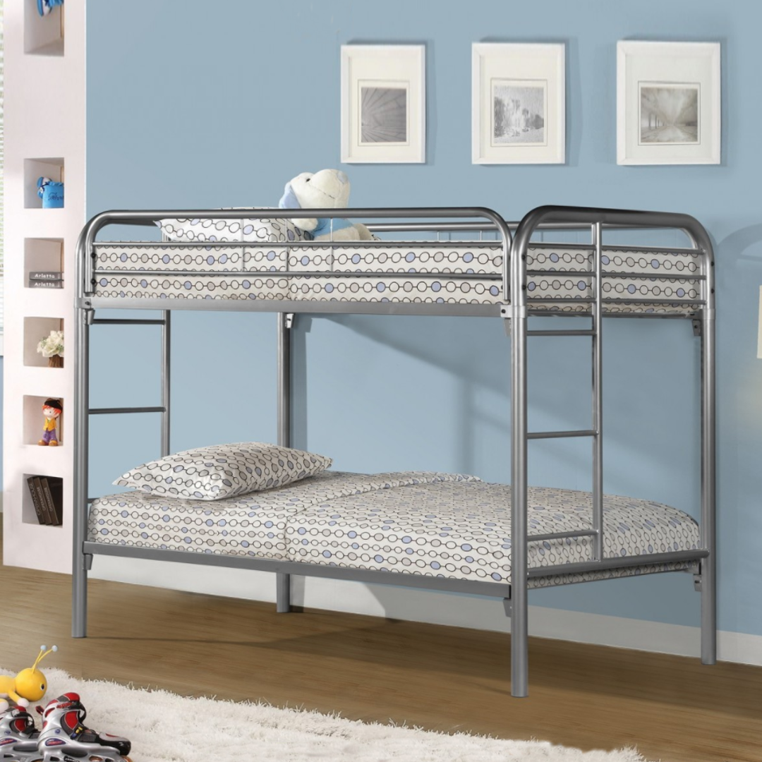 Twin Over Twin Silver Metal Bunk Bed Thebedroomstore Com