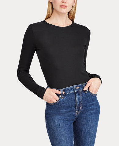 Stretch Long-Sleeve Tee In Polo Black
