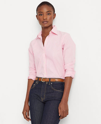Petite Easy Care Striped Cotton Shirt In Pink/White
