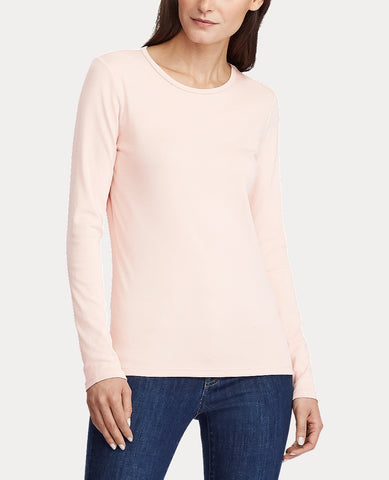 Stretch Long-Sleeve Tee In Pale Rose