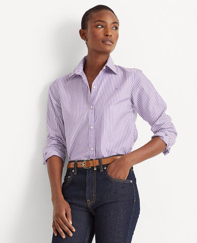 Easy Care Striped Cotton Shirt In Lavender/White
