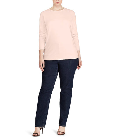 Woman Stretch Long-Sleeve Tee In Pale Rose