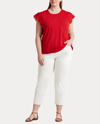 Woman Cotton Ruffle-Sleeve Tee In Red