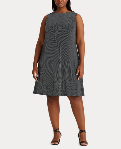 Woman Snap-Trim Jersey Shift Dress In Lighthouse Navy/Colonial Cream