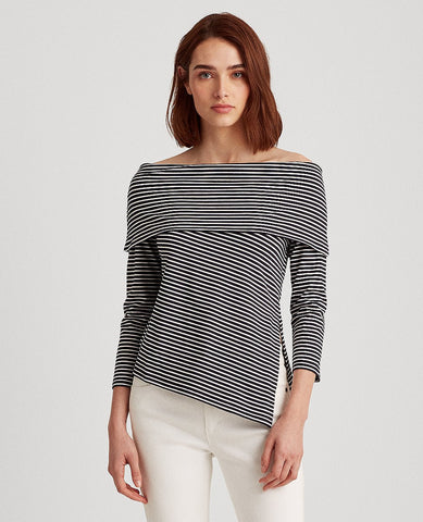 Petite Striped Off-The-Shoulder Top In Lauren Navy/White