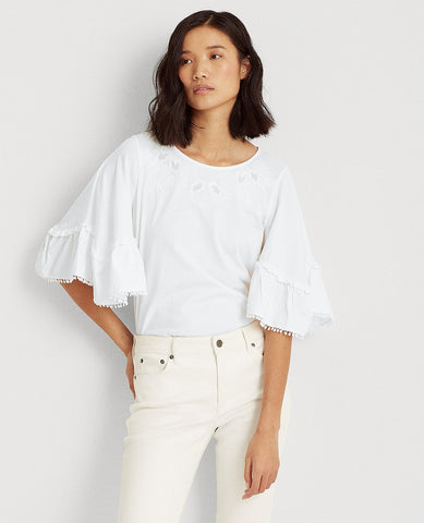 Petite Cotton Elbow-Sleeve Top In White