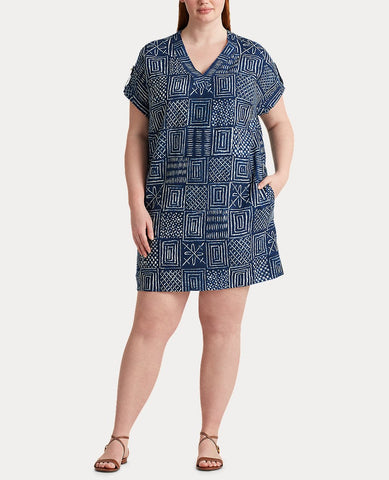 Woman Print Linen Shift Dress In Dark Blue Multi