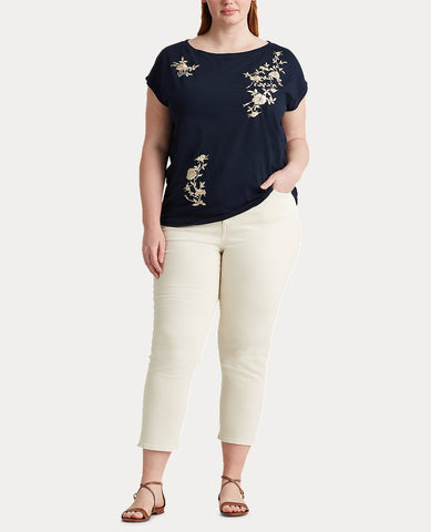 Woman Floral Boatneck Tee In Lauren Navy