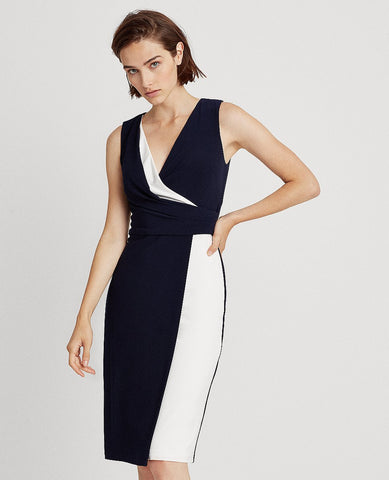 Petite Two-Tone Surplice Dress In Lighthouse Navy/Lauren White