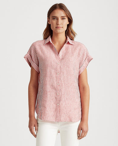 Petite Striped Linen Shirt In Red/White