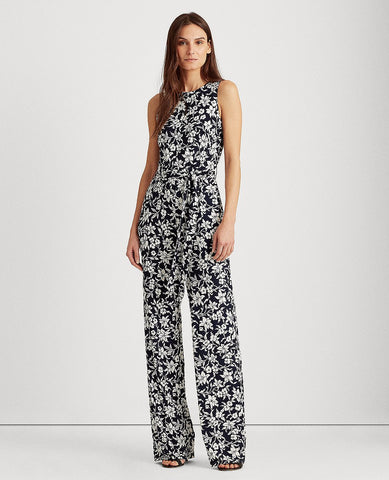 Floral Jersey Jumpsuit In Lighthouse Navy/Colonial Cream