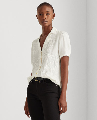 Embroidered Cotton Shirt In Silk White