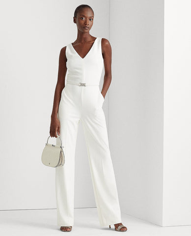 Belted Jersey Jumpsuit In Cream