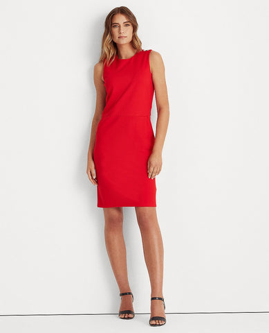 Button-Trim Ponte Dress In Red