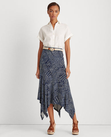 Print Asymmetrical Skirt In Dark Blue Multi