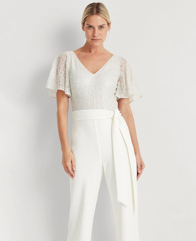 Sequin-Lace Jersey Jumpsuit In Cream