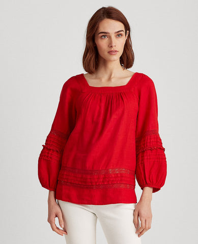 Linen Balloon-Sleeve Top In Red