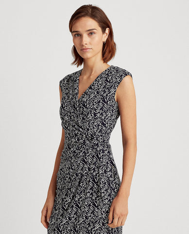 Print Jersey Surplice Dress In Lighthouse Navy/Colonial Cream