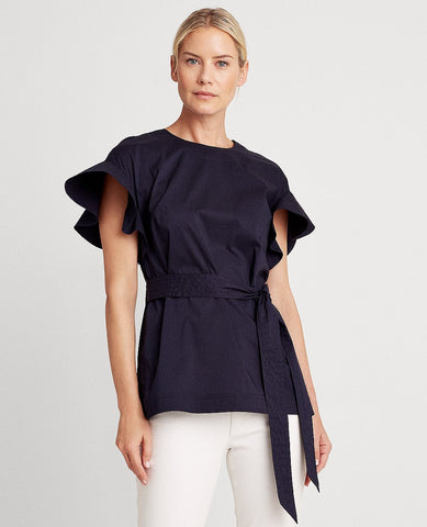 Flutter Sleeve Cotton-Blend Top In Lauren Navy