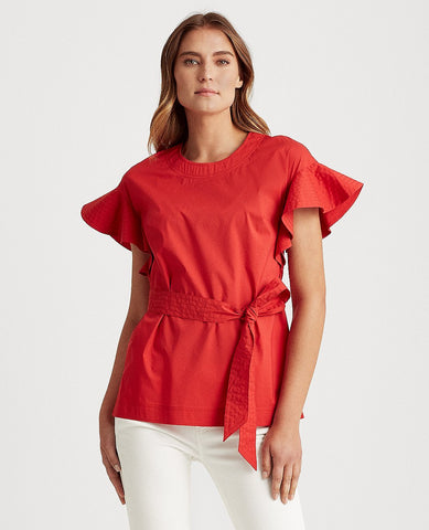 Flutter Sleeve Cotton-Blend Top In Red