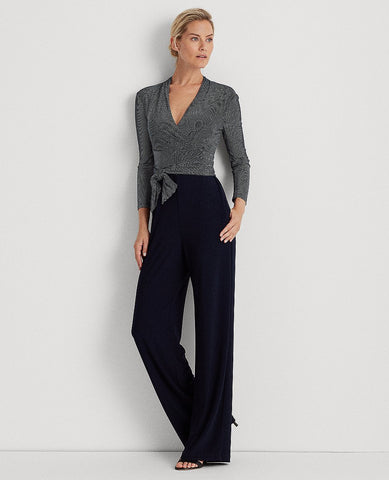 Color-Blocked Belted Jumpsuit In Lighthouse Navy/Colonial Cream