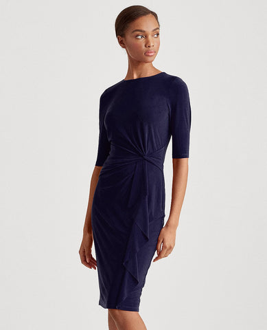 Twisted-Knot Jersey Dress In Lighthouse Navy