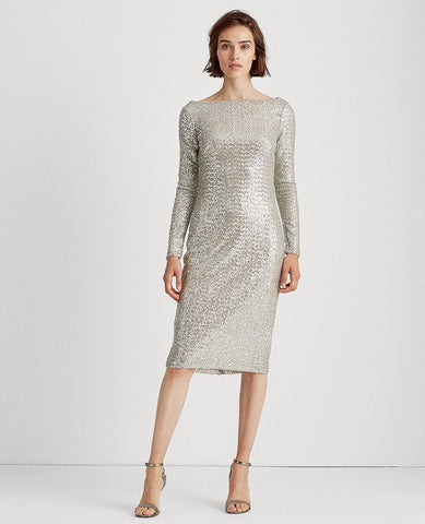 Sequined Cocktail Dress In Silver Frost Shine