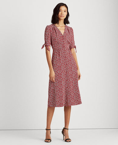 Floral Crepe Midi Dress In Garnet/Cream