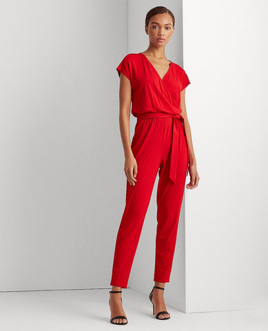 Stretch Faux-Wrap Jumpsuit In Red