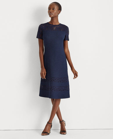 Dobby Fit-And-Flare Dress In Lighthouse Navy