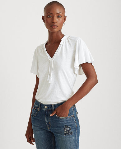 Linen-Blend Tie-Neck Top In White