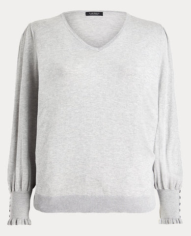 Woman Buttoned-Cuff Long-Sleeve Sweater In Grey Heather