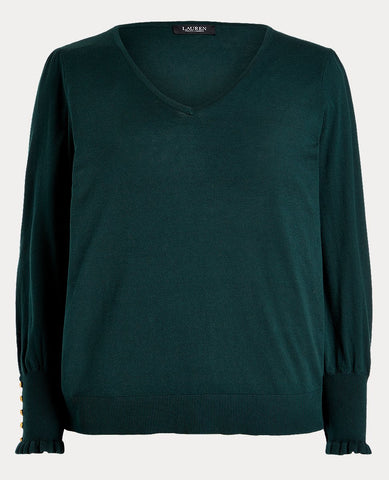 Woman Buttoned-Cuff Long-Sleeve Sweater In Deep Pine