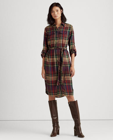 Plaid Twill Shirtdress In Red/Green