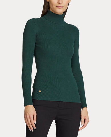 Petite Ribbed Turtleneck Sweater In Deep Pine