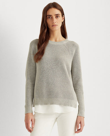Layered Cable-Knit Sweater In Grey Heather