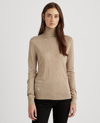 Ribbed Silk-Blend Turtleneck In Truffle