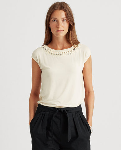 Jersey Sleeveless Top In Cream