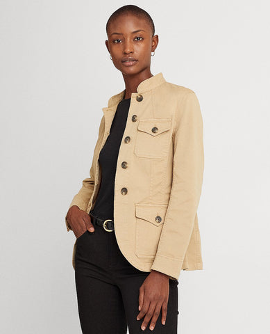 Stretch-Cotton Chino Jacket In Tan