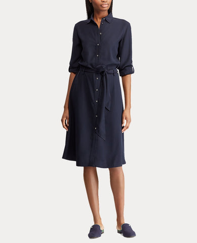 Fit-And-Flare Shirtdress In Navy